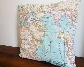 Map pillow cover, world map cushion cover, World map pillow cover, decorative pillows, blue pillow cover, decorative map pillow