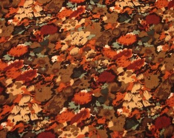 Vintage Black Rust Green & Brown Multi Colored Fashion Apparel Fabric Material