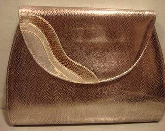 Vintage 1970 Silver Faux Snakeskin Clutch Handbag