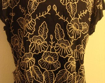 Vintage 1970 Black and Beige Leaf Designed Embroidered Dress