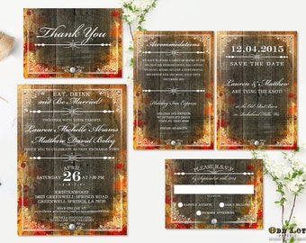 Rustic Fall Wedding Invitation Set Wedding Stationery Fall Wedding Autumn Leaves DIY Rustic Fall Wedding Set Digital Files