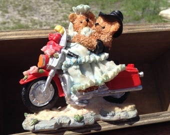 Motorcycle with Bride and Groom Stoneware Porcelain Cake Topper Display Figurine Wedding Gift Groom Gift Harley Riders