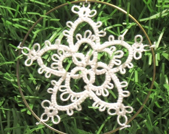 Handmade Tatted Lace Christmas Ornaments - Set of 6 Stars