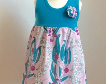 "NEW for 2017!  Vibrant ""Pretty Potent"" from Anna Maria Horner, paired with matching blue tank...sizes 6mo - 8yrs"