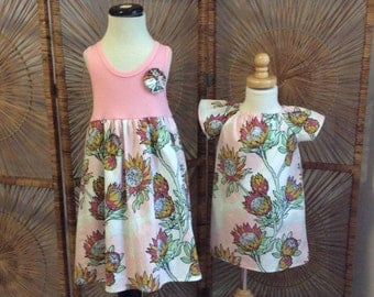 SiSTER SET ....girls tank style dress with coordinating flutter sleeve dress in Joel Dewberry fabric...sizes 6 months - 8 years