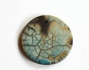 African beads, Ceramic Jewellery Components, Turquoise Raku Pendant, Raku Pendant, Ceramic Beads,  African Ceramics, art pendant, handmade