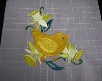easter spring chick lavender towel. Hand towel. kitchen towel. guest towel. Machine embroidered.