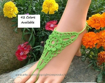 Lime Green Crochet Barefoot Sandals Shoes Foot Jewelry Sea Anklet Hippie Boho Bohemian Lace Sandles Blue-Green Barefoot Sandal Shoe