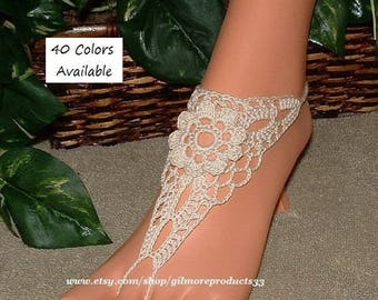 BUY Crochet Barefoot Shoes Sandals ON LINE Beach Wedding Shoes for Women Huge Selection