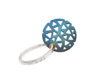 ring 925 silver , 18k gold , titanium