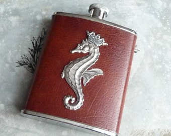 The Prince  steampunk flask vintage chestnut brown leather  Goold recycled hip flask with silver seahorse and crown stamping