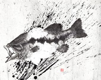 LARGEMOUTH BASS Silhouette Ink Splatter Black Bass Gyotaku print - traditional Japanese fish art - by dwight hwang