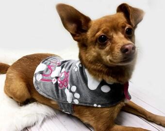 Personalized Dog Jacket, Paw Print Dog Jacket, Rhinestone Bow Dog Jacket, Gray Paw Print Dog Jacket