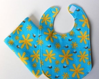 LAST CHANCE CLEARANCE Clearance Honey Bee Bib and Burp Cloth Set - Yellow Flower on Teal