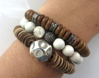 Boho Bracelet Stack/ Pave Diamond Bracelet Set/ Pave Diamond Oxidized Sterling Silver/ Organic Sterling Silver Ball/ Ox Bone Flattened Discs