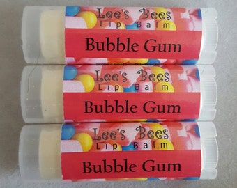 Lip Balm - Bubble Gum, One Tube of All Natural Beeswax Lip Salve Chapstick by Lee the Beekeeper