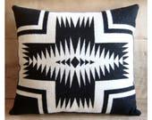 Wool Pillow - Black White Walking Rock - Boho Decor Native Geometric Tribal