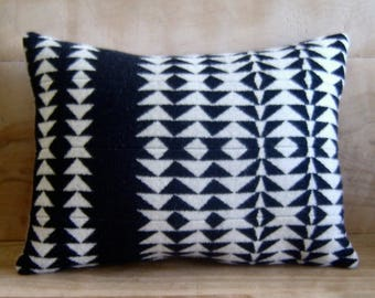 Wool Pillow - Black White Arrow - Native Geometric Tribal