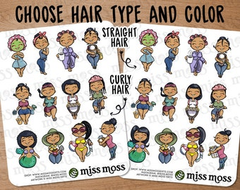 Tan Skin Hispanic Latina Mixed Cute Girl Assorted Planner Stickers - Erin Condren, Happy Planner, Kikki K, Filofax, Decorative