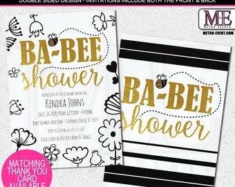 Bees & Flowers, Modern Baby Shower Invitation