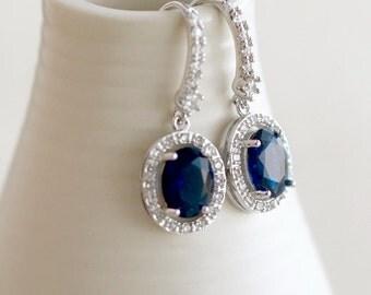 CZ Sapphire Earrings, Bridesmaid Jewelry, Oval Halo Earrings, Bridesmaid Gift, Bridesmaid Earrings, Something Blue, Wedding Jewelry, Bridal