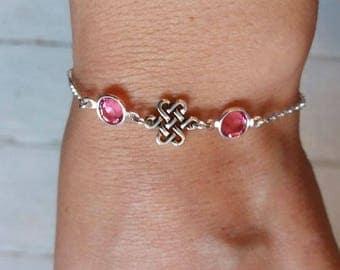 Birthstone Bracelet. Celtic Knot Bracelet. Sterling Silver. Personalized Bracelet. Celtic Bracelet. Celtic Knots