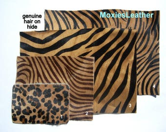 DIY clutch hair on hide , kit for  purse , clutch  , animal print leather with suede or leather ,