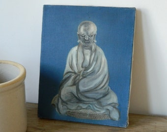 Retro Vintage Buddha Oil Painting on Canvas. Bohemian Decor.