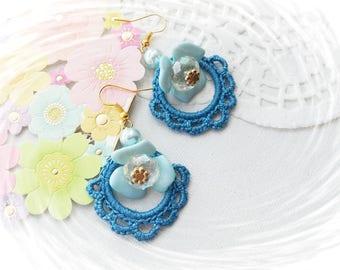 Crochet Beaded Earrings - Cotton Earrings - Circle Earrings - Dangle Earrings - Flower Earrings - Blue Earrings