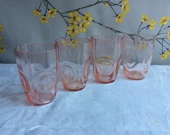 Vintage pink pressed glass tumblers