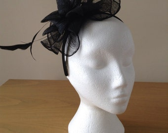 Black Fascinator and Feather Fascinator on a hairband, races, weddings, special occasions, Ascot, Mother of the Bride