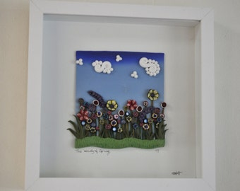 Original Art - Beauty of Spring in a Shadow Box, Polymer Clay