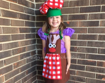 Rudolph the Red Nose Reindeer Apron and Chef Hat, Reindeer Apron and Baker Hat, Christmas Apron, Rudolph Apron, Child Apron and Baker Hat