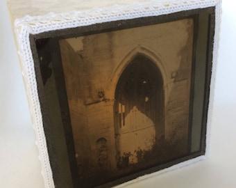 Magic lantern Slide Light Box/ Group Photo in grand archway Ornament/ decoration