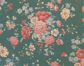 Cotton Fabric / Floral Cotton Fabric / Green Floral Fabric / 1980's Floral Fabric / Pink Floral Fabric / Floral Fabric / Peter Pan Fabric