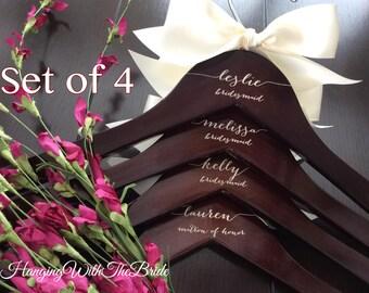 Set of 4 Wedding dress hanger, Wooden Engraved HangerCustom Bridal Hangers,Bridesmaids gift, Wedding hangers with names,Custom made hangers