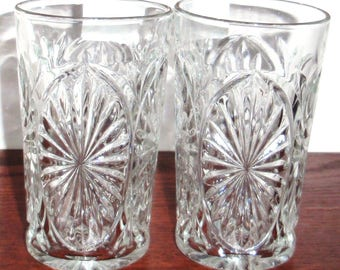 """2 Cameo Medallion Anchor Hocking Glass Co Clear Crystal Star Ahc15 Pattern Water Tea Tumblers Glasses 5 1/4"""" Two Pair Excellent Condition"""