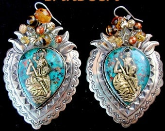 "San Miguel de Allende,Mexico~BARBOSA~Large~""St. Christopher with Christ Child""~Sacred Heart~Alpaca Earrings"