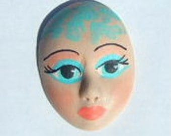 art doll face cabochon jewelry face doll part spirit goddess mixed media