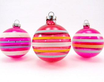 1940s Unsilvered Glass Christmas Ornaments Vintage Striped Shiny Brite Christmas Decorations Baubles