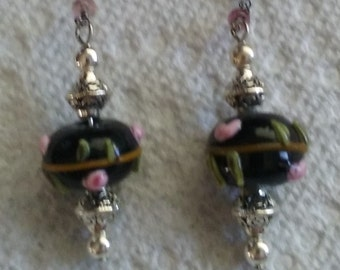 earrings with pink roses,4 1/2 inch ,delicate beaded chain