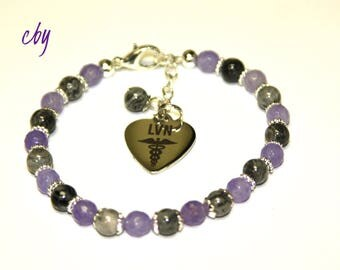 Lavender Jade Gemstone AND Phantom Quartz Gemstone LVN Charm Bracelet Nurse Bracelet Licensed Vocational Nurse