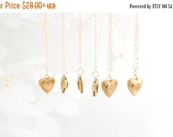 Almost Spring Sale Set of Heart Lockets Bridesmaids Necklaces 14K Gold Filled Chain Vintage Style Tiny Brass Heart Locket Necklace 1 2 3 4 5