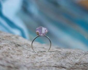 Minimalist amethyst ring, rough crystal sterling silver ring, skinny silver ring, solid silver vanity ring, skinny ring