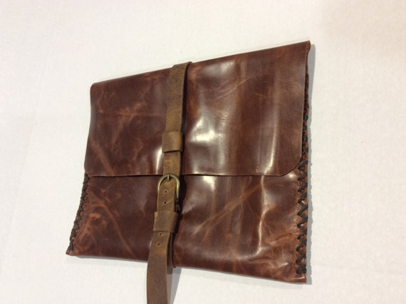 Files Leather Bag/Soft Portfolio MacAir Case Bag/Handmade Vintage Cogniac Custom Bag