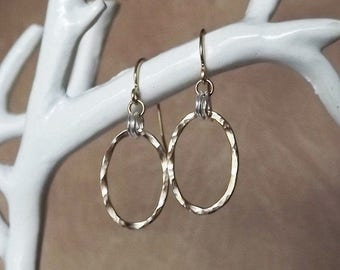 Gold Filled and Sterling Mixed Metal Hammered Oval Earrings - Everyday Earrings - Bridesmaid Gift