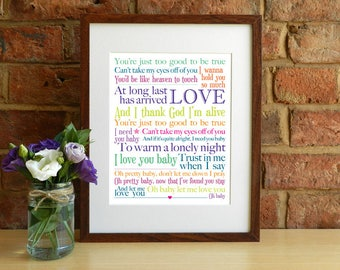 Can't Take My Eyes Off You / I Love You Baby - 8x10 inch Lyrics Print - INSTANT DOWNLOAD