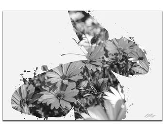 Animal Silhouette 'Butterfly Flowers Gray' by Adam Schwoeppe - Landscape Photography Nature Photo Art on White Metal