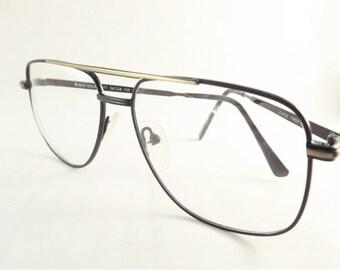Mens Black Aviator Eyeglasses, Gold and Black Metal Eyeglasses, Square Glasses, Double Bridge Glasses, NOS