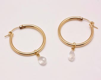 14K Gold-filled Hoops with Faceted Rainbow Moonstone Drops - Self-locking Closures